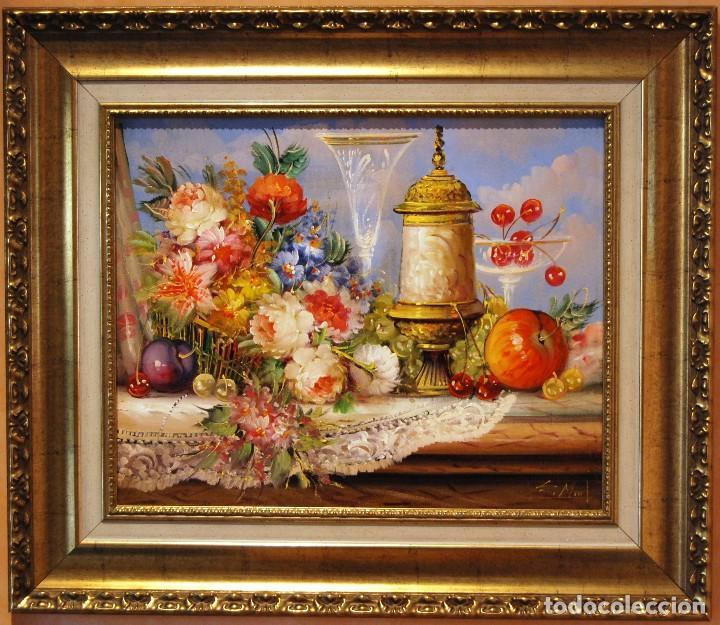 ROBERTO MICHEL - BARCELONA 1.959 - NATURALEZA MUERTA - ÓLEO - ENMARCADO (Arte - Pintura - Pintura al Óleo Contemporánea )
