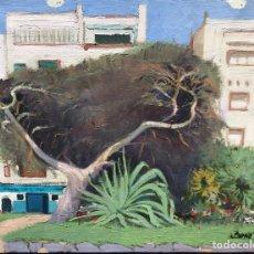Arte: PINTURA OLEO VINTAGE AÑOS PINTOR BONET JARDINES ARBOL PASEO MARITIMO PUEBLO COSTA BRAVA GIRONA CAT. Lote 208151438