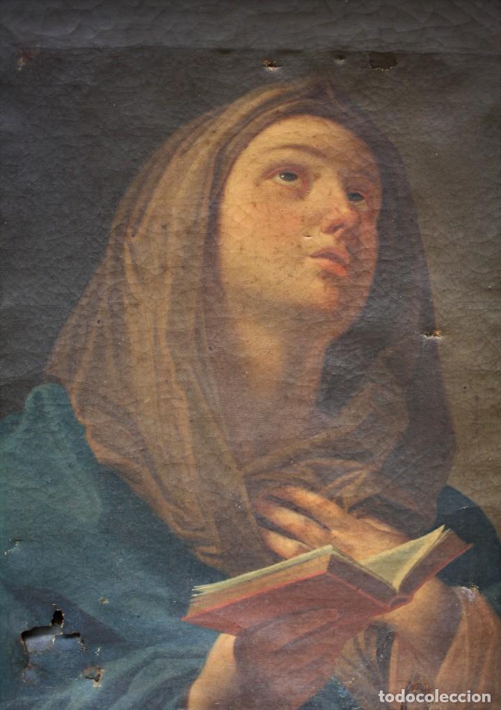 Arte: Virgen Anunciada, pintura al óleo sobre tela, escuela española del siglo XVIII, con marco. 51x37cm - Foto 2 - 208362438