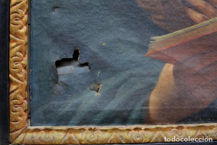Arte: Virgen Anunciada, pintura al óleo sobre tela, escuela española del siglo XVIII, con marco. 51x37cm - Foto 3 - 208362438