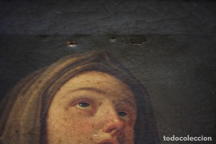 Arte: Virgen Anunciada, pintura al óleo sobre tela, escuela española del siglo XVIII, con marco. 51x37cm - Foto 4 - 208362438