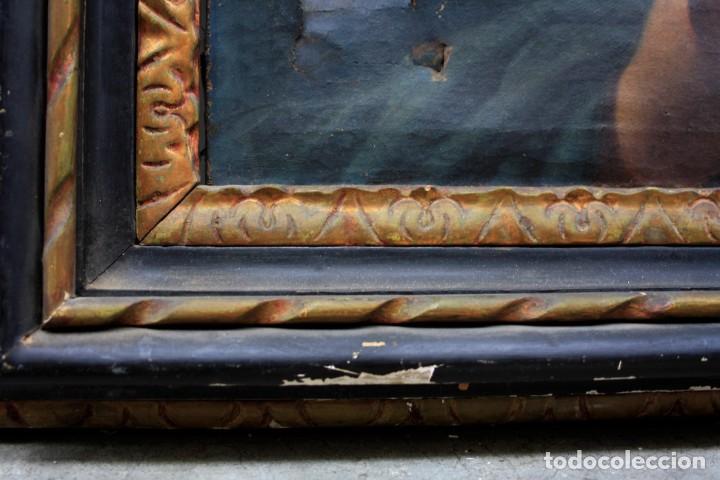 Arte: Virgen Anunciada, pintura al óleo sobre tela, escuela española del siglo XVIII, con marco. 51x37cm - Foto 5 - 208362438