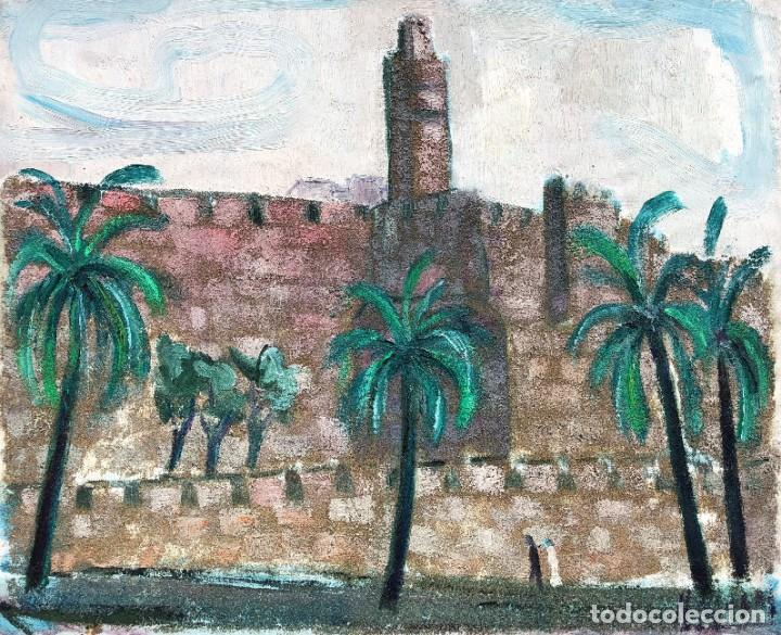 MANUEL CAPDEVILA MASSANA (1910-2006) - MURALLA JERUSALEN - ÓLEO LIENZO (Arte - Pintura - Pintura al Óleo Contemporánea )
