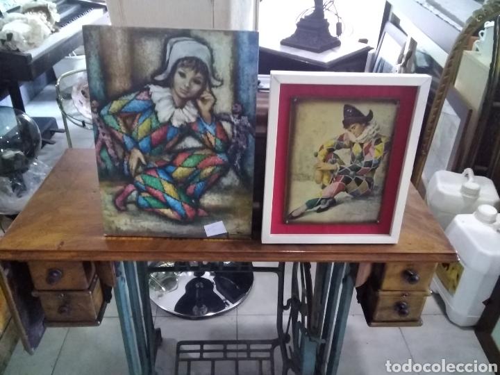 Arte: Lote de 2 cuadros arlequín uno de pifarrer firmado - Foto 4 - 208445222