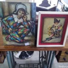 Arte: LOTE DE 2 CUADROS ARLEQUÍN UNO DE PIFARRER FIRMADO. Lote 208445222