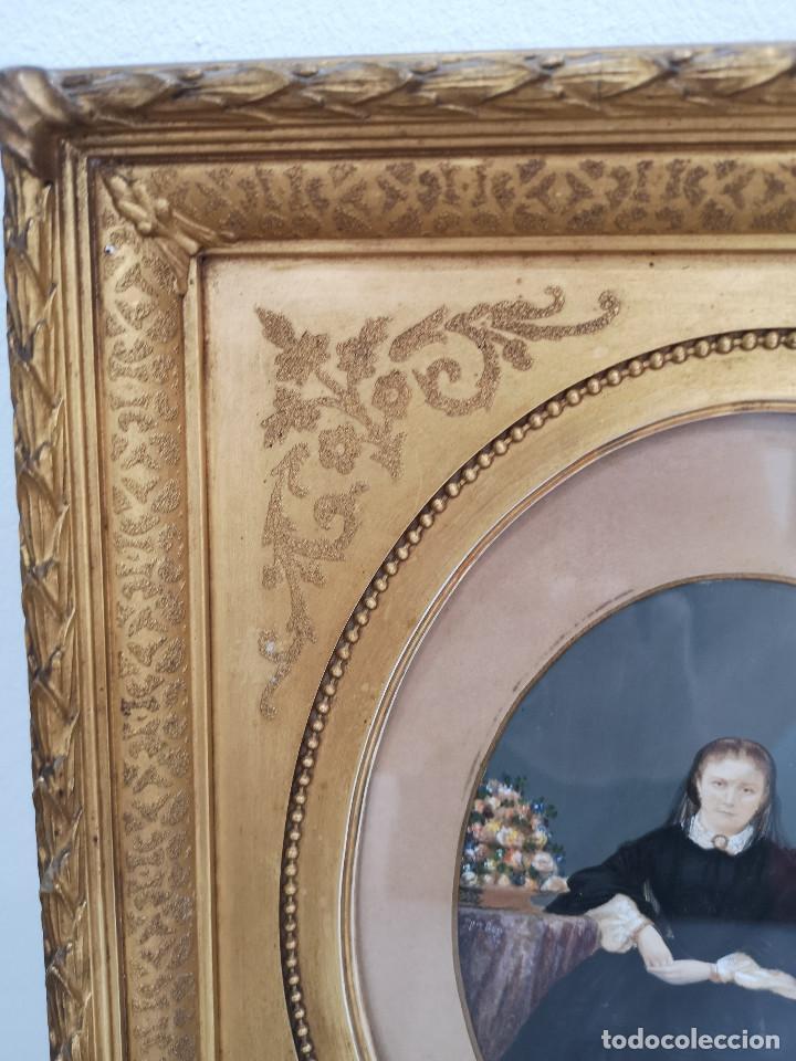 Arte: Antiguo S.XIX Óleo Retrato Antiguo Marco Madera - Foto 2 - 208566791