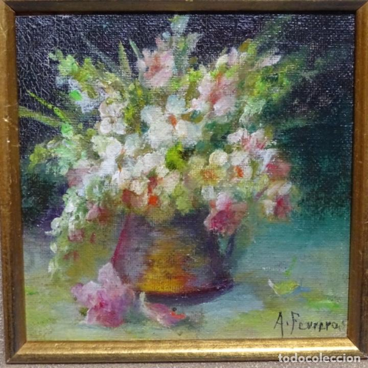 Arte: Óleo de Antonia ferreras i bertran (Lleida 1873-1935).bodegon de flores. - Foto 2 - 208791283