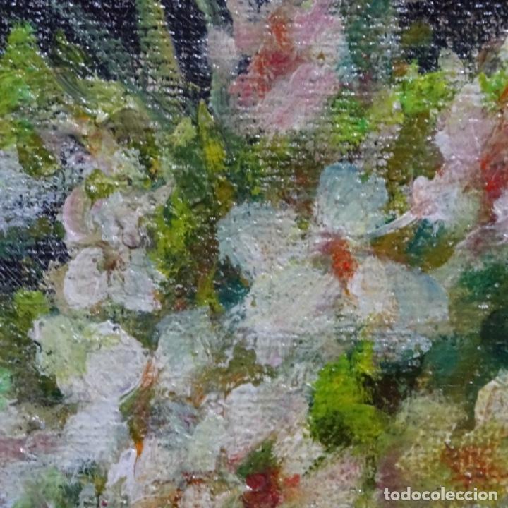 Arte: Óleo de Antonia ferreras i bertran (Lleida 1873-1935).bodegon de flores. - Foto 4 - 208791283