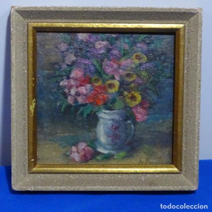 ÓLEO DE ANTONIA FERRERAS I BERTRAN (LLEIDA 1873-1935).BODEGON DE FLORES. (Arte - Pintura - Pintura al Óleo Contemporánea )