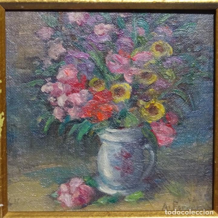 Arte: Óleo de Antonia ferreras i bertran (Lleida 1873-1935).bodegon de flores. - Foto 2 - 208791365