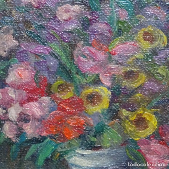Arte: Óleo de Antonia ferreras i bertran (Lleida 1873-1935).bodegon de flores. - Foto 3 - 208791365