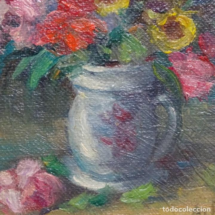 Arte: Óleo de Antonia ferreras i bertran (Lleida 1873-1935).bodegon de flores. - Foto 4 - 208791365