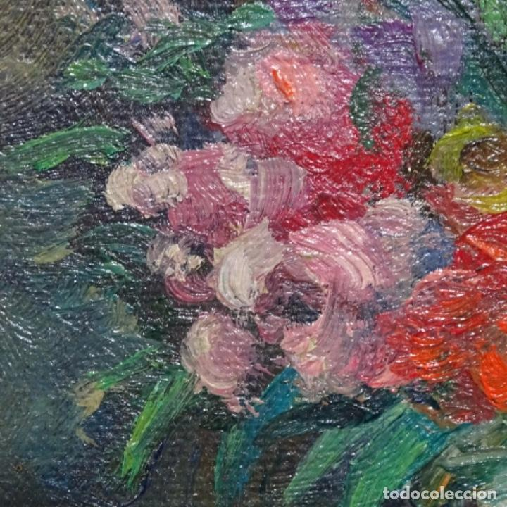 Arte: Óleo de Antonia ferreras i bertran (Lleida 1873-1935).bodegon de flores. - Foto 5 - 208791365