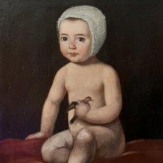 Arte: BONITO RETRATO DE NIÑA CON PAJARITO S. XIX. Lote 208823200