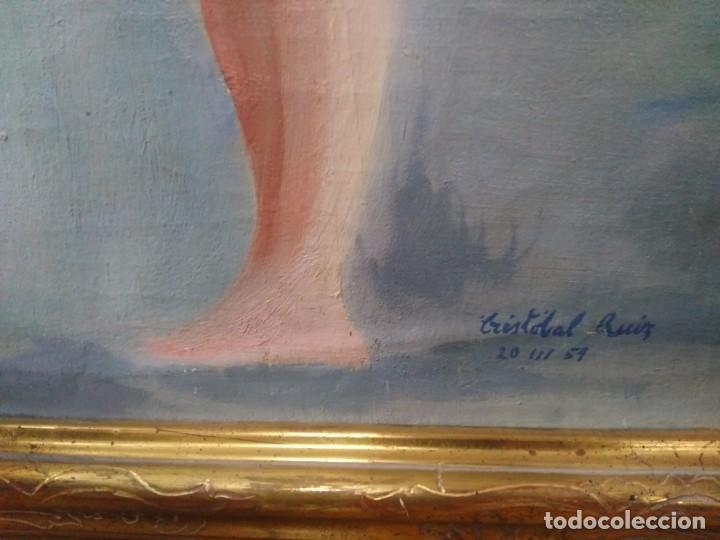 Arte: CRISTÓBAL RUIZ (VILLACARRILLO, JAÉN, 1881-MÉXICO, 1962) DESNUDO EN FONDO AZUL - OBRA ORIGINAL - 1951 - Foto 3 - 208937087