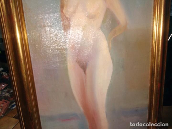 Arte: CRISTÓBAL RUIZ (VILLACARRILLO, JAÉN, 1881-MÉXICO, 1962) DESNUDO EN FONDO AZUL - OBRA ORIGINAL - 1951 - Foto 12 - 208937087