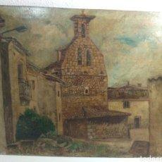 Arte: PINTURA ANTIGUA OLEO SOBRE CARTON TABLEX ,PISAJE RURAL PUEBLO. Lote 208946705