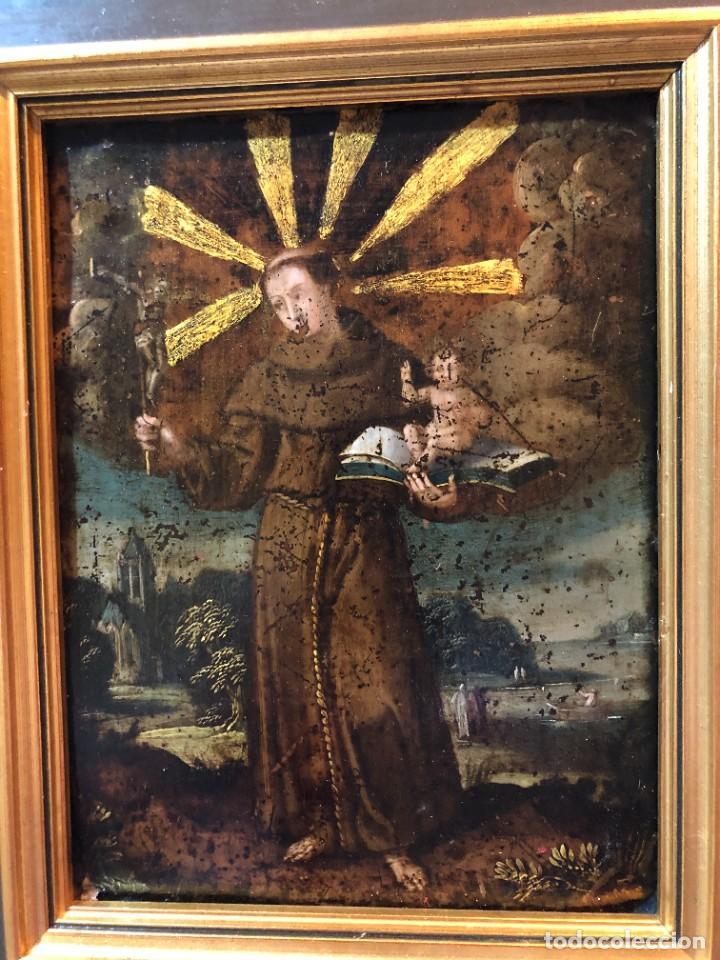 MAGNIFICO COBRE S. XVII, SAN ANTONIO CON ATRIBUTOS ANTIGUOS (Arte - Pintura - Pintura al Óleo Antigua siglo XVII)
