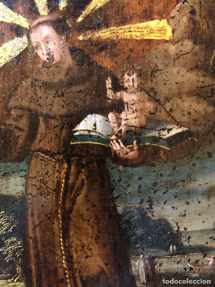 Arte: MAGNIFICO COBRE S. XVII, SAN ANTONIO CON ATRIBUTOS ANTIGUOS - Foto 2 - 208956528