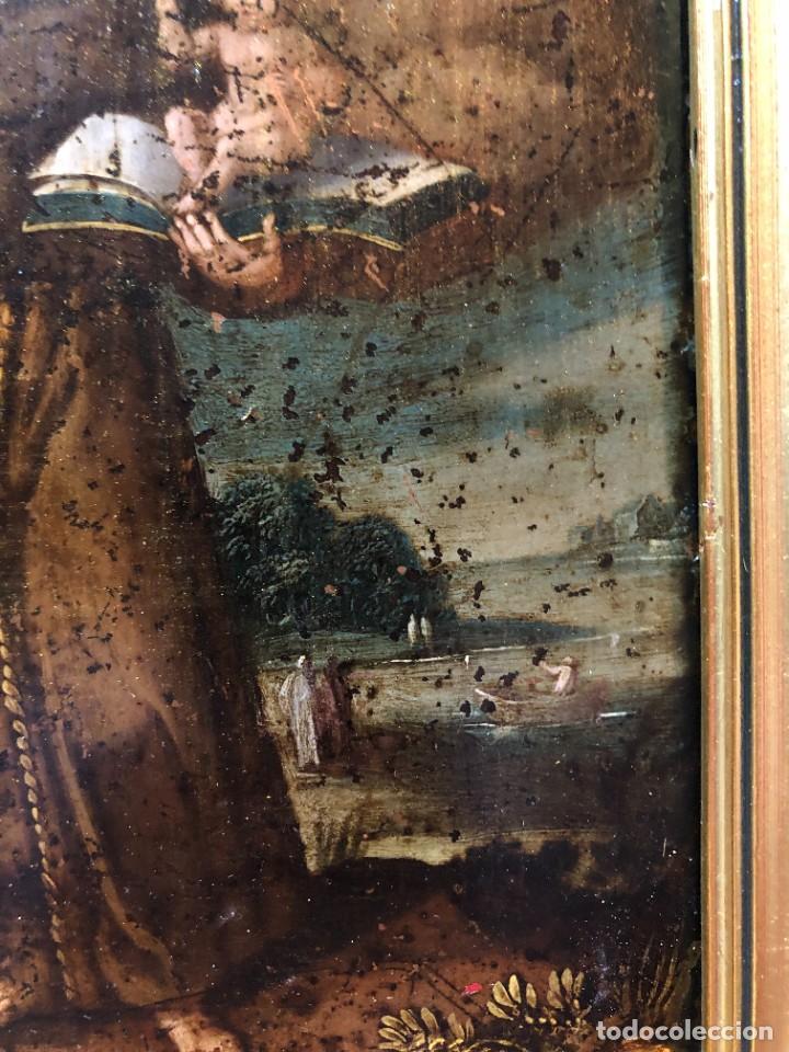 Arte: MAGNIFICO COBRE S. XVII, SAN ANTONIO CON ATRIBUTOS ANTIGUOS - Foto 4 - 208956528