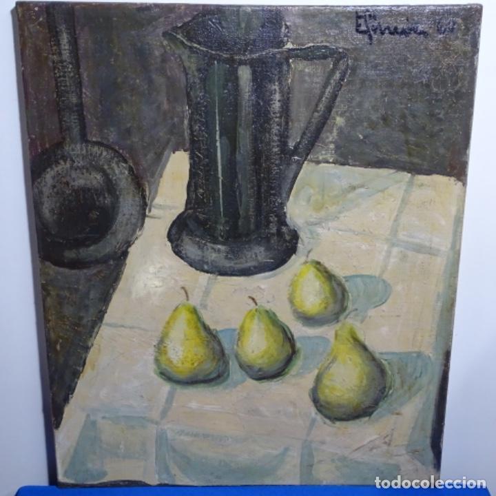 EXCELENTE ÓLEO REENTELADO DEL AÑO 1960 CON FIRMA ILEGIBLE. (Arte - Pintura - Pintura al Óleo Contemporánea )