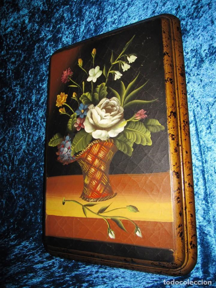 ÓLEO PINTURA SOBRE MADERA COMPOSICIÓN FLORAL BODEGÓN FLORES ESTILO BARROCO (Arte - Pintura - Pintura al Óleo Moderna sin fecha definida)