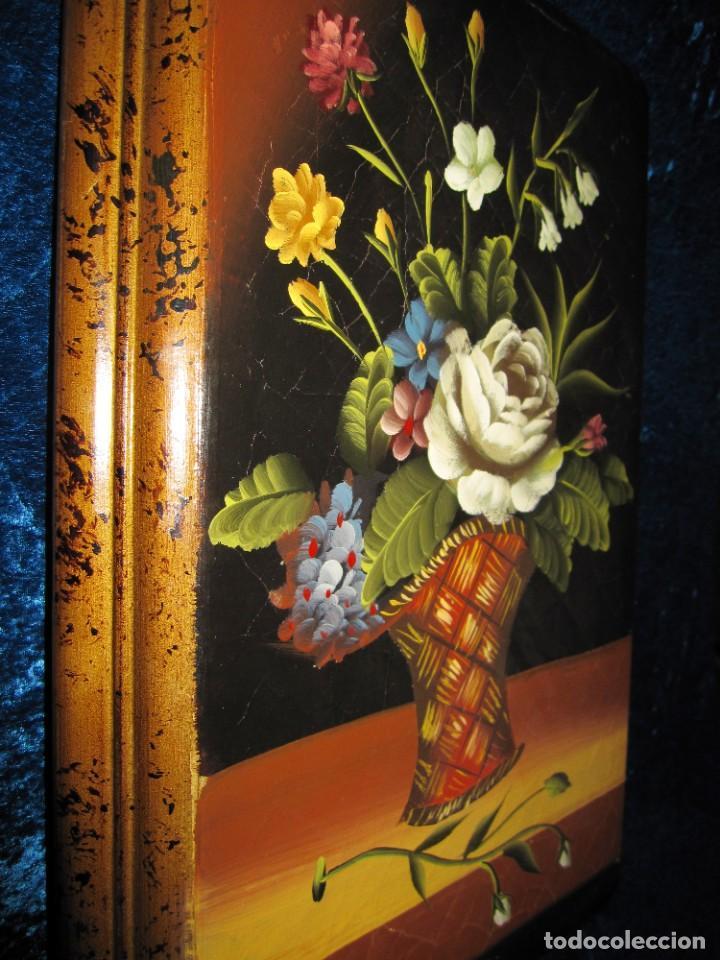 Arte: Óleo pintura sobre madera composición floral bodegón flores estilo barroco - Foto 2 - 209256340