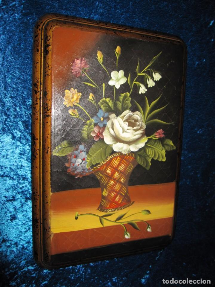 Arte: Óleo pintura sobre madera composición floral bodegón flores estilo barroco - Foto 3 - 209256340