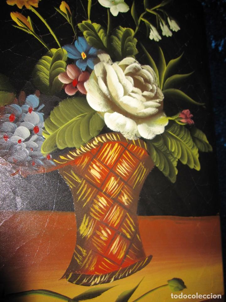 Arte: Óleo pintura sobre madera composición floral bodegón flores estilo barroco - Foto 4 - 209256340