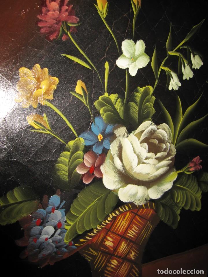 Arte: Óleo pintura sobre madera composición floral bodegón flores estilo barroco - Foto 5 - 209256340