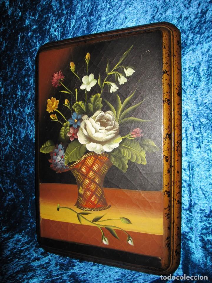 Arte: Óleo pintura sobre madera composición floral bodegón flores estilo barroco - Foto 7 - 209256340