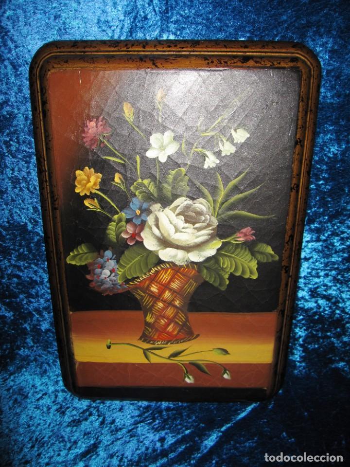 Arte: Óleo pintura sobre madera composición floral bodegón flores estilo barroco - Foto 9 - 209256340
