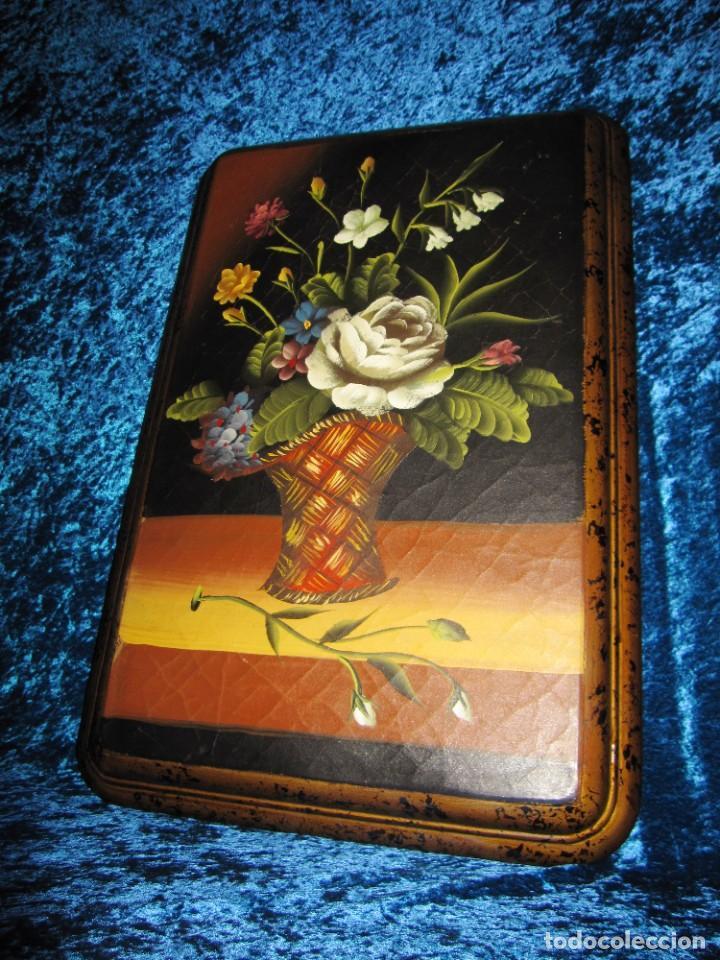 Arte: Óleo pintura sobre madera composición floral bodegón flores estilo barroco - Foto 14 - 209256340