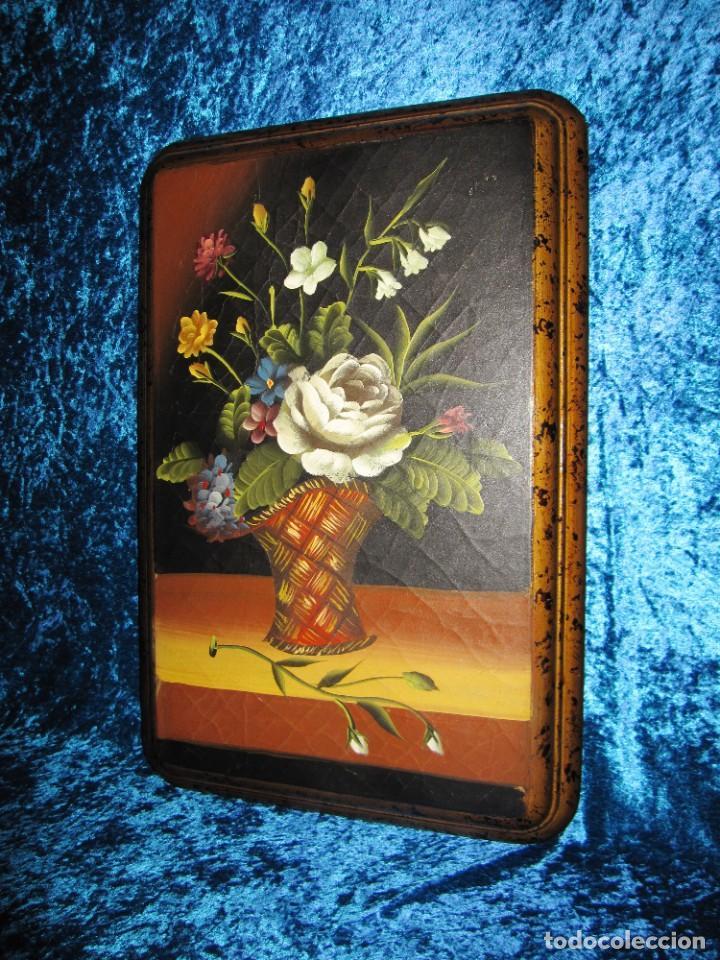 Arte: Óleo pintura sobre madera composición floral bodegón flores estilo barroco - Foto 15 - 209256340