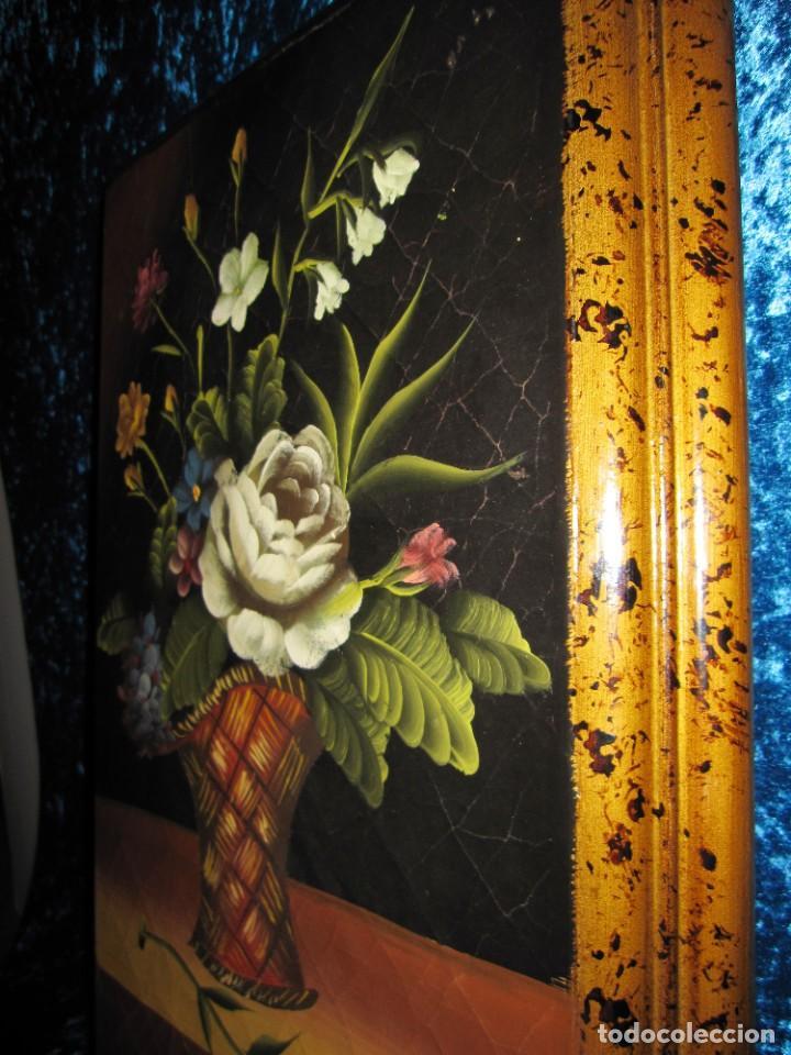 Arte: Óleo pintura sobre madera composición floral bodegón flores estilo barroco - Foto 16 - 209256340