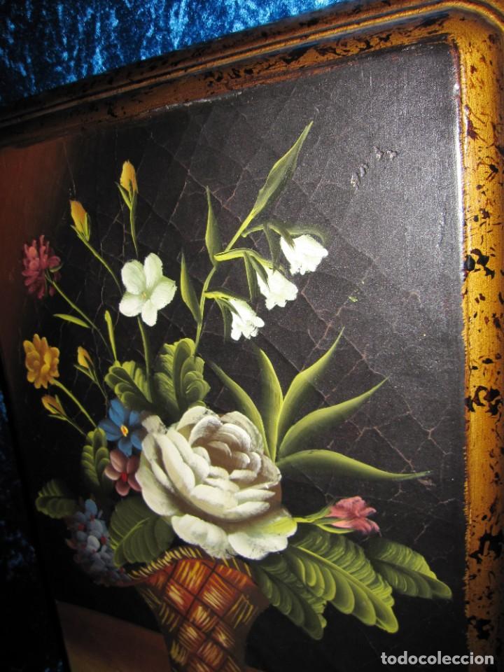 Arte: Óleo pintura sobre madera composición floral bodegón flores estilo barroco - Foto 19 - 209256340