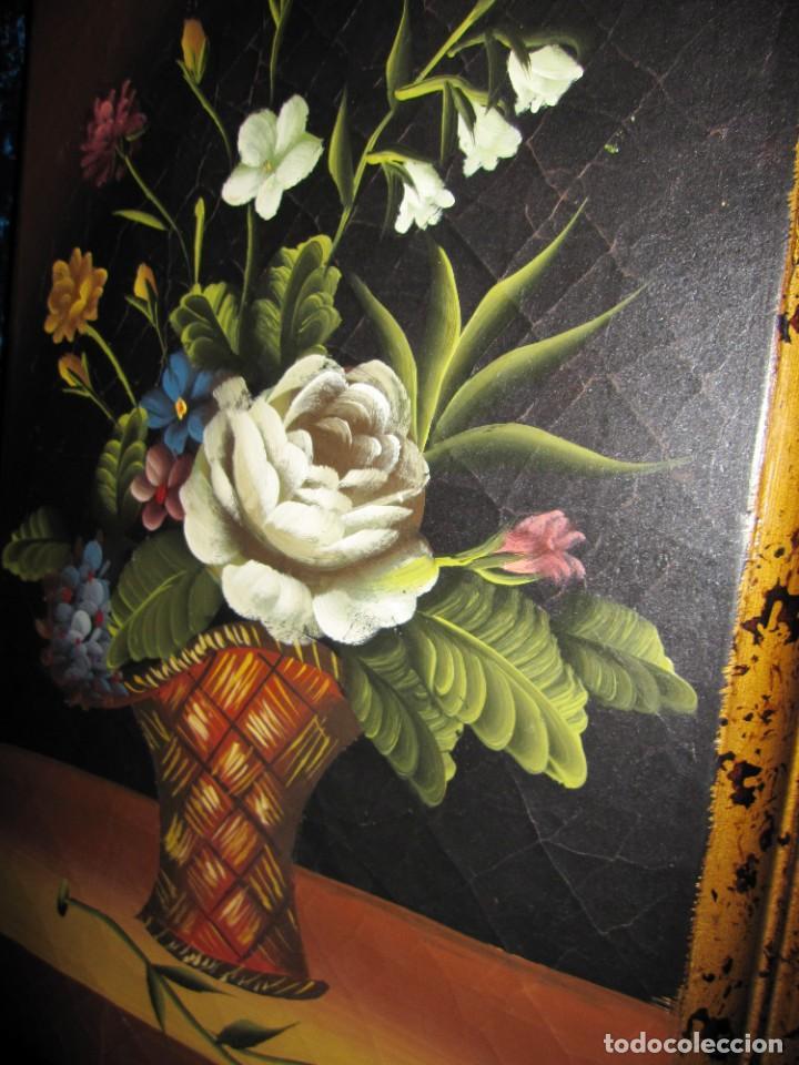 Arte: Óleo pintura sobre madera composición floral bodegón flores estilo barroco - Foto 23 - 209256340