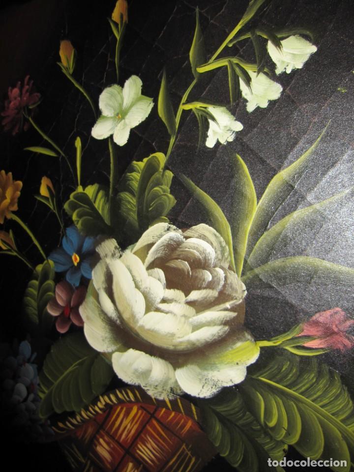 Arte: Óleo pintura sobre madera composición floral bodegón flores estilo barroco - Foto 24 - 209256340