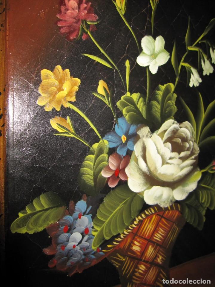 Arte: Óleo pintura sobre madera composición floral bodegón flores estilo barroco - Foto 25 - 209256340