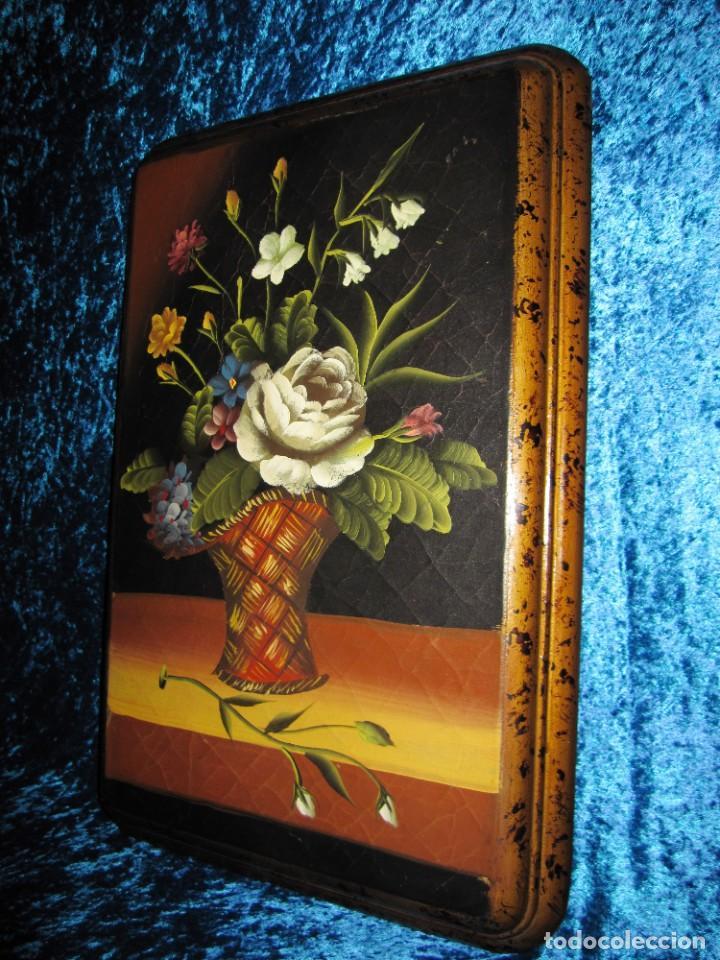 Arte: Óleo pintura sobre madera composición floral bodegón flores estilo barroco - Foto 29 - 209256340