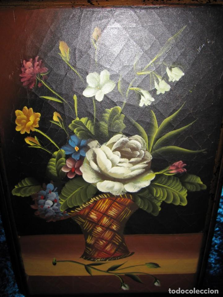 Arte: Óleo pintura sobre madera composición floral bodegón flores estilo barroco - Foto 30 - 209256340