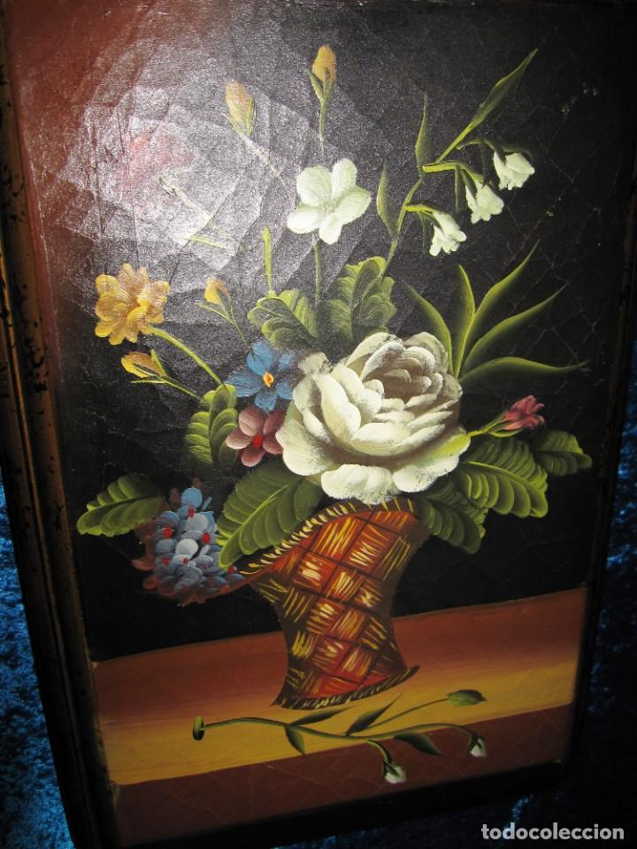 Arte: Óleo pintura sobre madera composición floral bodegón flores estilo barroco - Foto 32 - 209256340