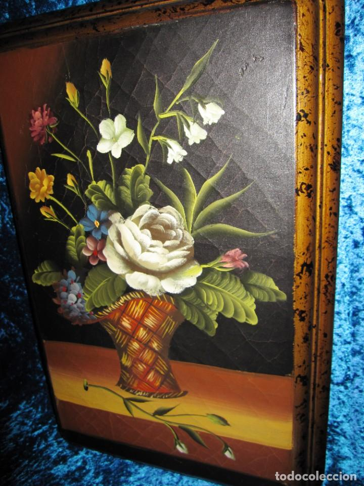 Arte: Óleo pintura sobre madera composición floral bodegón flores estilo barroco - Foto 33 - 209256340