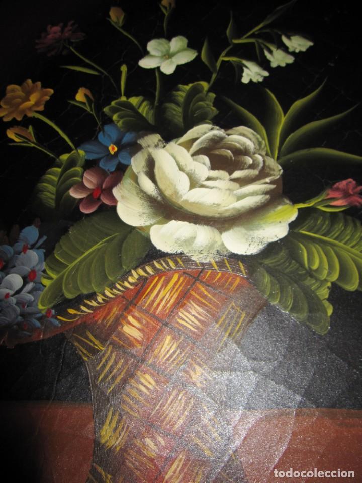 Arte: Óleo pintura sobre madera composición floral bodegón flores estilo barroco - Foto 34 - 209256340