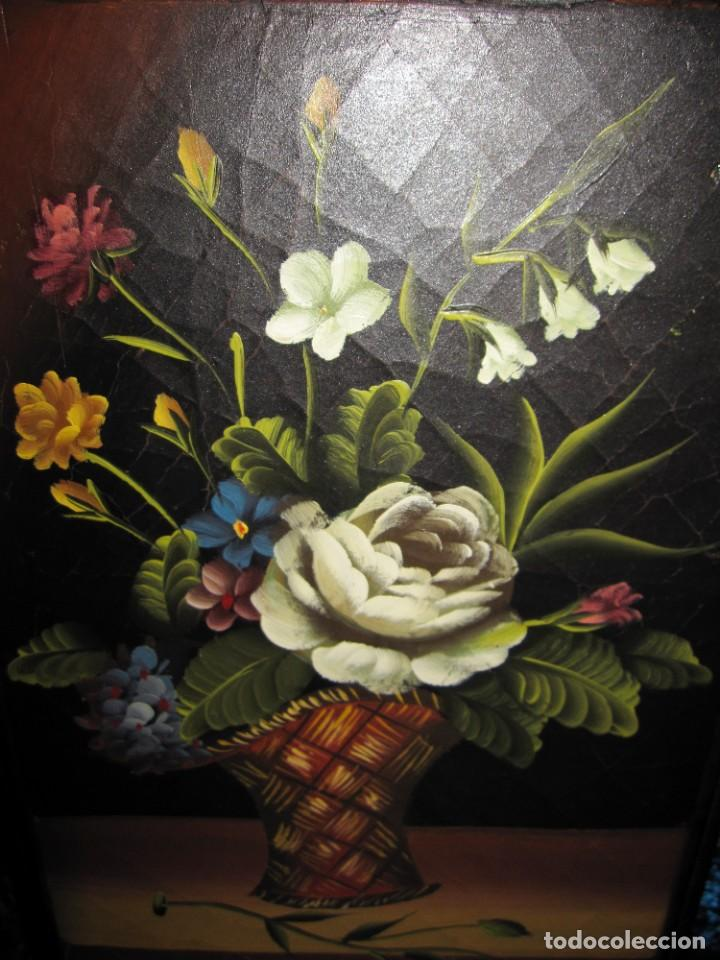 Arte: Óleo pintura sobre madera composición floral bodegón flores estilo barroco - Foto 35 - 209256340