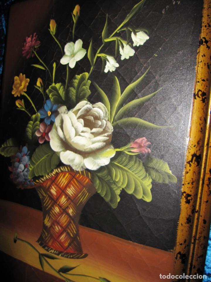 Arte: Óleo pintura sobre madera composición floral bodegón flores estilo barroco - Foto 36 - 209256340