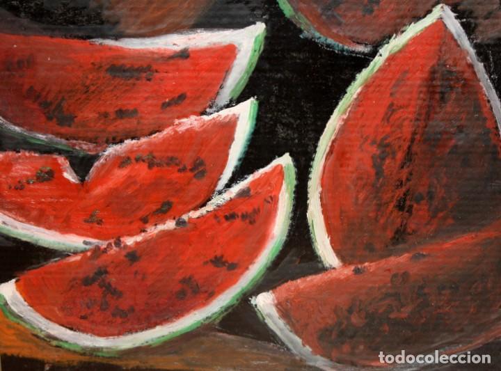 FIRMADO J. SOLER. OLEO SOBRE CARTON. BODEGON DE SANDIAS (Arte - Pintura - Pintura al Óleo Contemporánea )