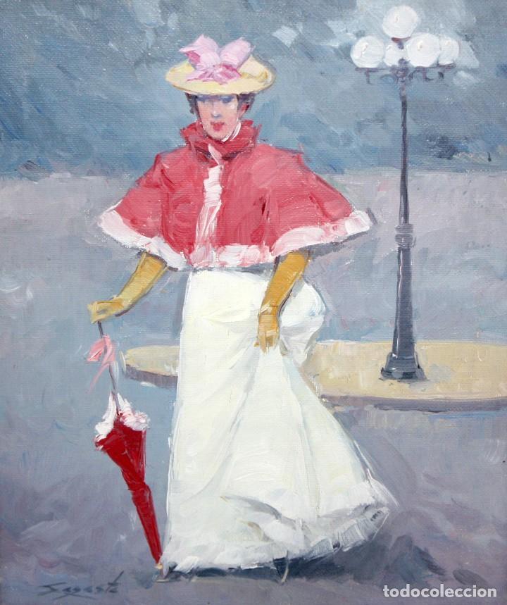 LUIS ARANA SAGASTA (ZARAGOZA, 1929) OLEO SOBRE TELA. DAMA CON SOMBRILLA (Arte - Pintura - Pintura al Óleo Contemporánea )