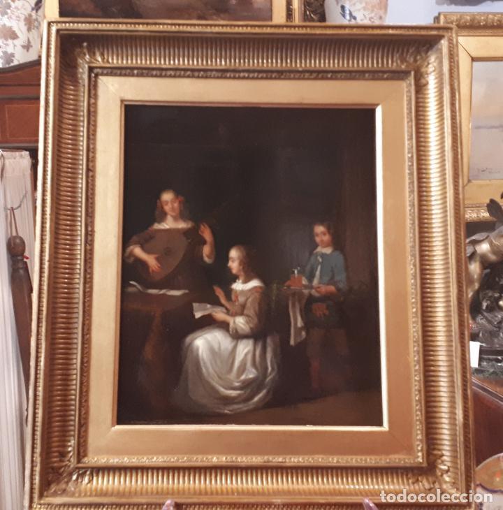 Arte: UNA LECCIÓN DE MÚSICA. ÓLEO SOBRE TABLA S. XVIII-XIX. - Foto 2 - 209349393
