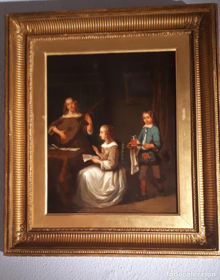 Arte: UNA LECCIÓN DE MÚSICA. ÓLEO SOBRE TABLA S. XVIII-XIX. - Foto 9 - 209349393